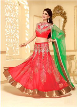 Red lahenga choli with net dupatta