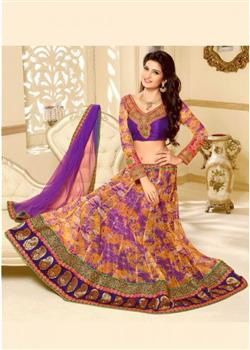designer purple and tangerine chaniya choli