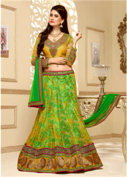 Green and yellow multi design lahenga choli