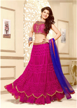Magenta full net semi stitched lahenga choli