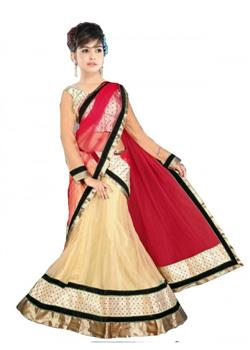 Creamy white and red full net chaniya choli