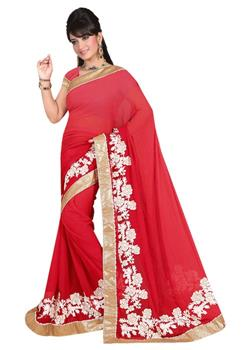 Elegant Plain Red Saree With Classy Aariwork