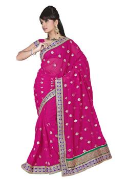 SATIN SAREE WITH DOUBLE BORDER PALLU