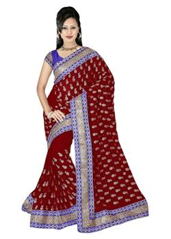 SEQUENCE WORK TRIPLE BORDER SAREE
