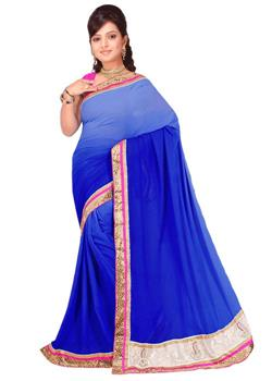SHADED SAREE WITH CONTRAST BORDER