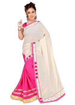 ROSE PINK AND OFF WHITE JUTE LAHENGA STYLE SAREE