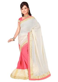 HALF JUTE SILK AND HALF NET SAREE