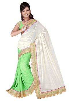 GREEN WHITE HALF AND HALF JUTE SILK SAREE