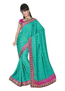 SARTIN PLAIN SAREE WITH ATTRACTIVE BORDER