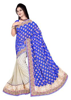 THOUSAND BUTTI-NET AARI WORK PLEATS
