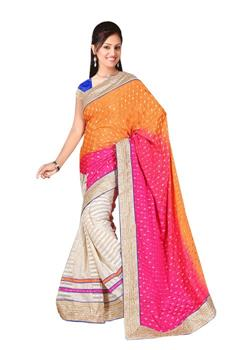 ORANGE AND PINK SHADED LEHENGA STYLE SAREE