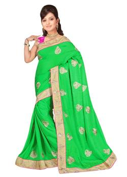 PISTA GREEN SAREE EMBROIDERED BORDER