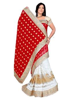 LEHENGA STYLE SAREE WITH RICH NET CREPES