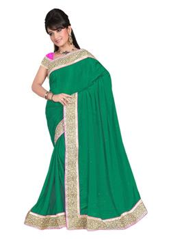 PLAIN SILK SAREE WITH HEAVY BORDER