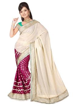 HALF GEORGETTE HALF SILK BROCADE PATLI WORK SAREE