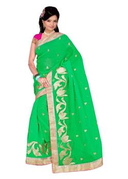 Green Plain Saree With l Shaped Embroidery Pallu
