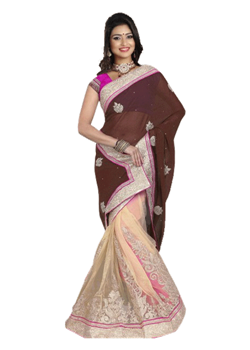 Cream And Brown Lahenga Style Bridal Saree