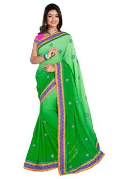 Beautiful kutch Parrot Green Saree