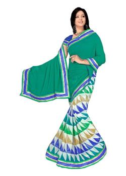 Green Half Printed Half Plain Saree