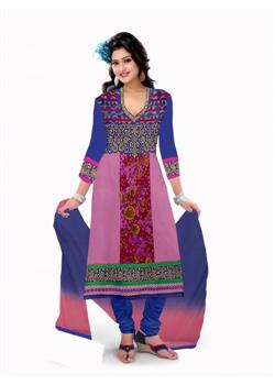cotton pink and dark blue dress material