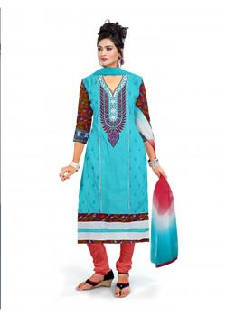 Sky blue and red embroidered dress material