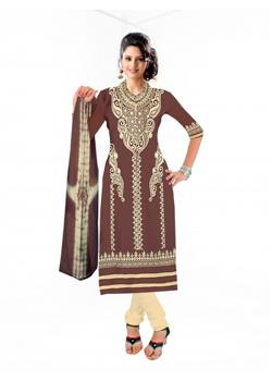 Designer-brown-colour-dress-material