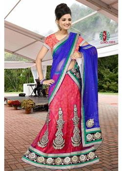 Carrot Pink and blue lahenga choli