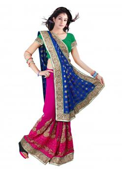 magenta and royal blue half- half saree
