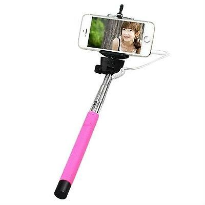 SELFIE STICK WITH CABLE PINK SELFIE EXPANDABLE HANDHELD SELF PORTRAITS