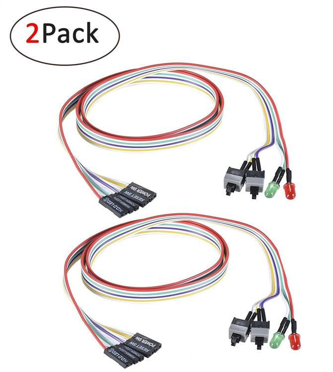 2 Pack ATX PC 2 Switch Power Cable