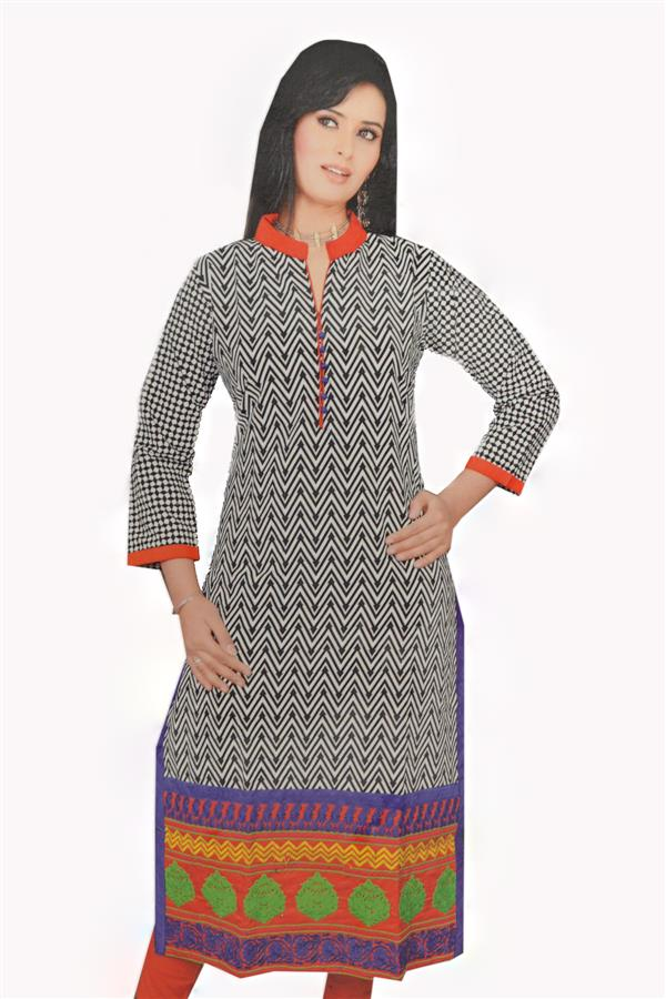 BLANK AND ORANGE KURTI