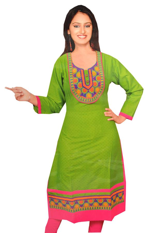 GREEN AND PINK KURTI
