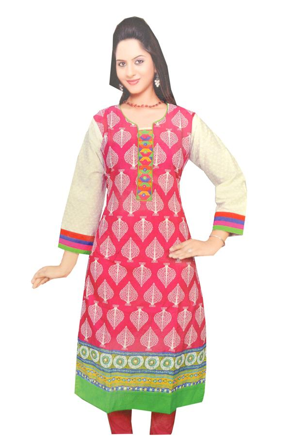PINK AND WHITE KURTI