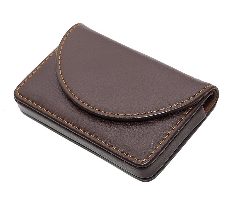 Curved leather card holder- Brown