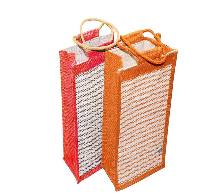 2 pack water bottle jute bag