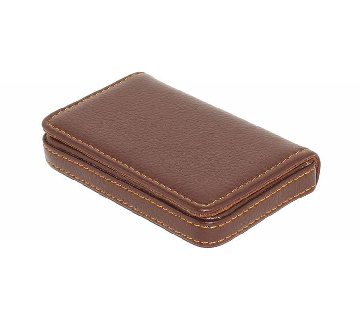 Leather Stiched card holder - Brown