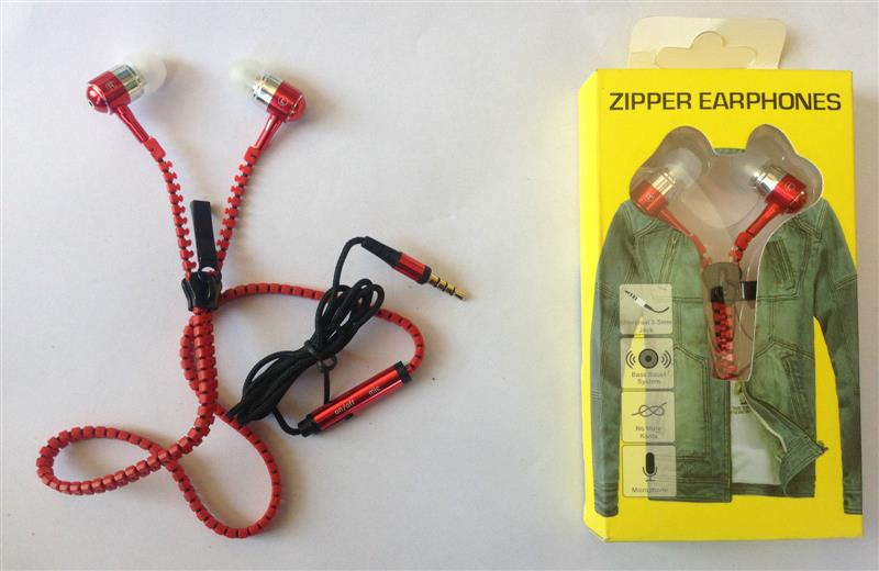 ZIPPER EAREPHONES WITH MIC ON OFF SWITCH PINK