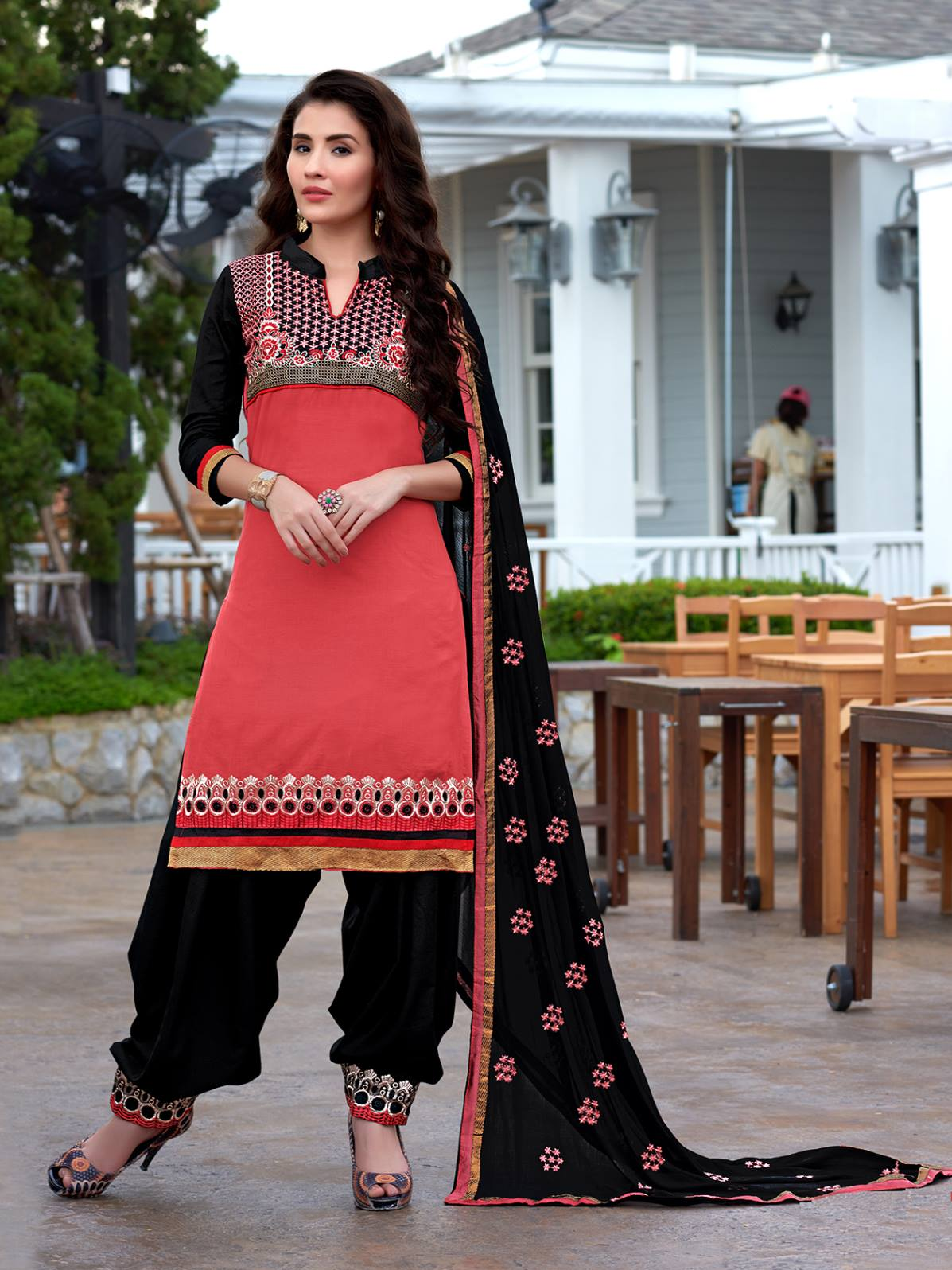 Exclusive Indianred Emboridered Designer Patiala Salwar Suit