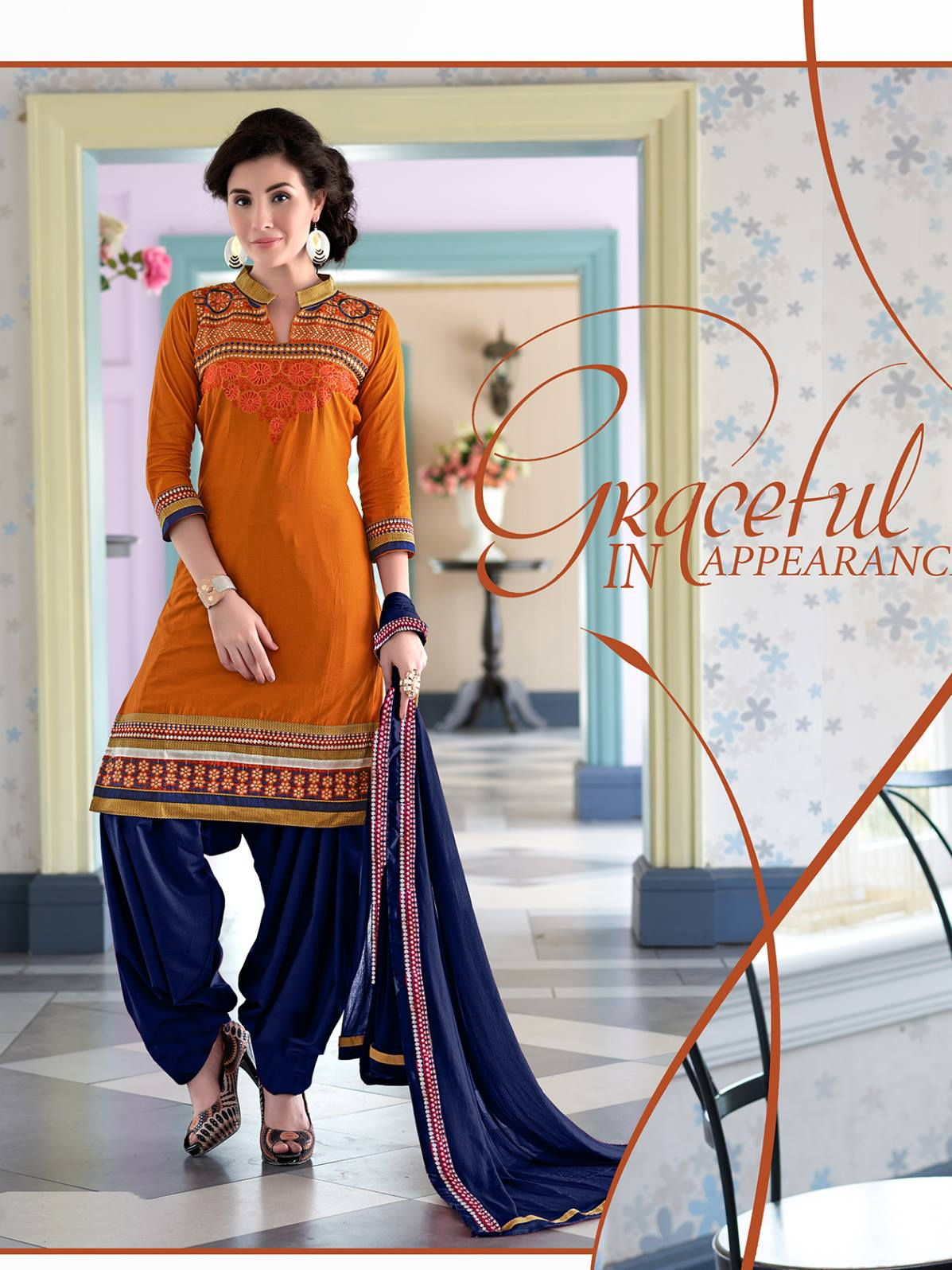 Exclusive Dark Yellow Emboridered Designer Patiala Salwar Suit