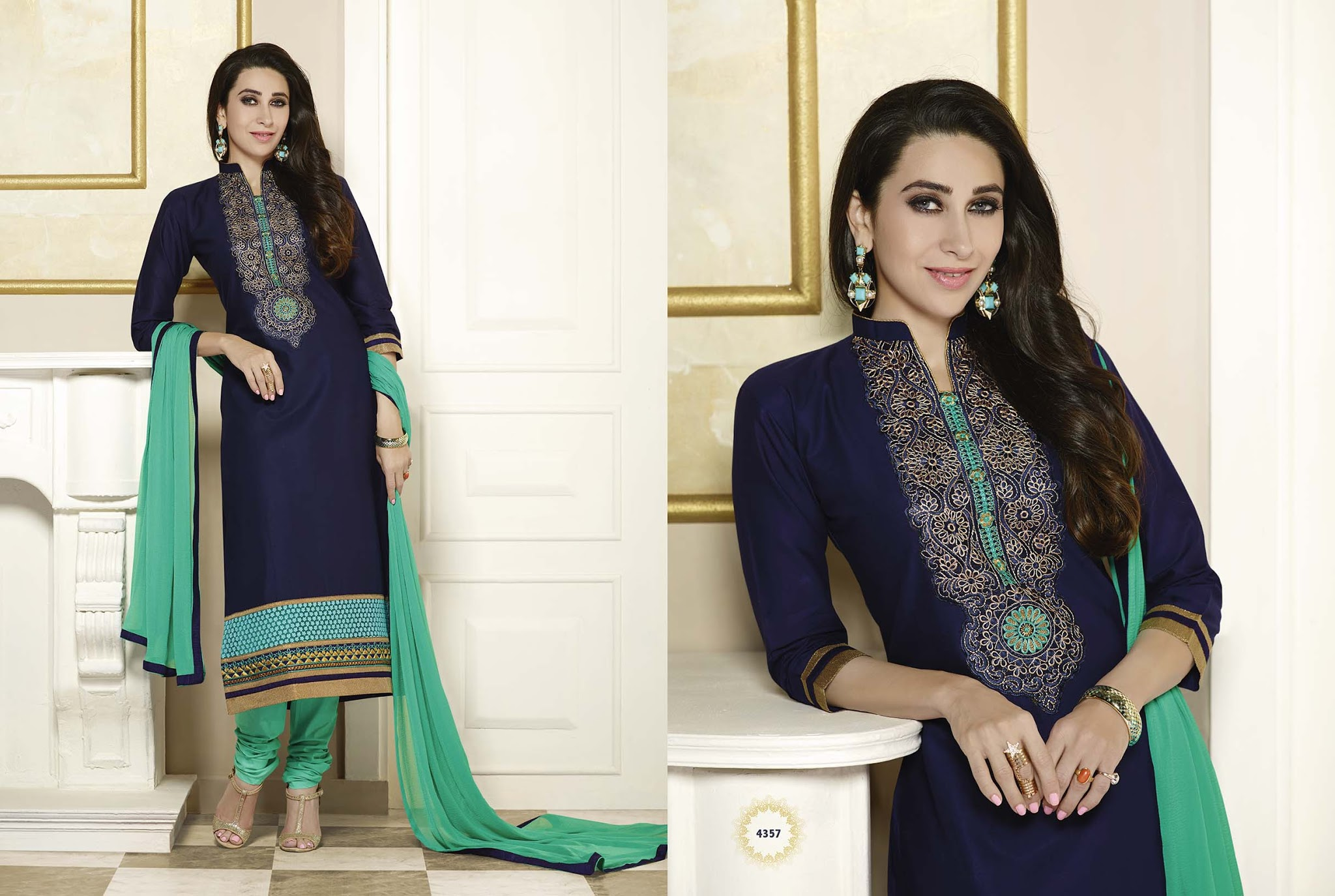 New Exclusive Blue Color Unstitiched Embroidered Salwar Suit