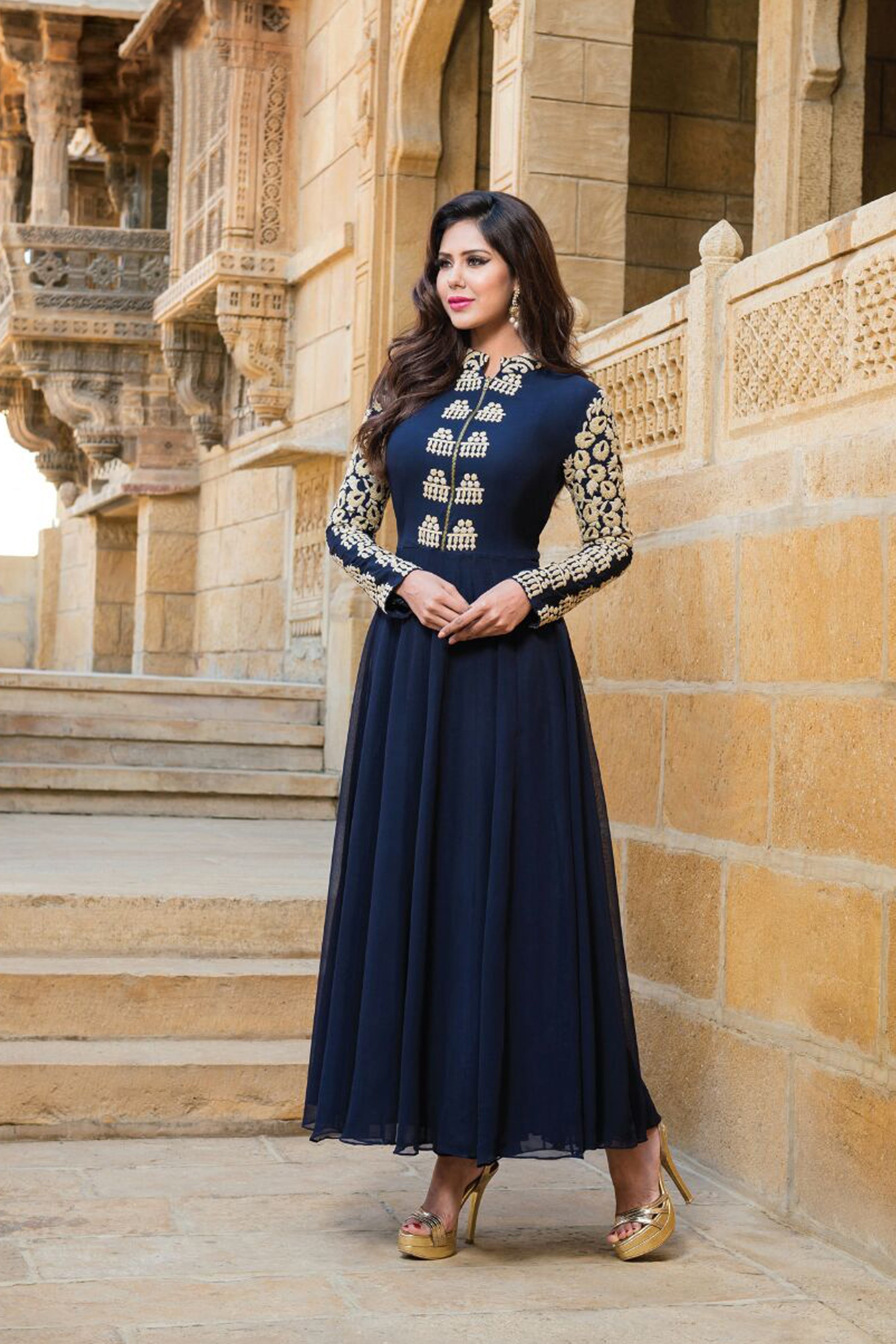 New Exclusive Blue Color Embroidered Gown