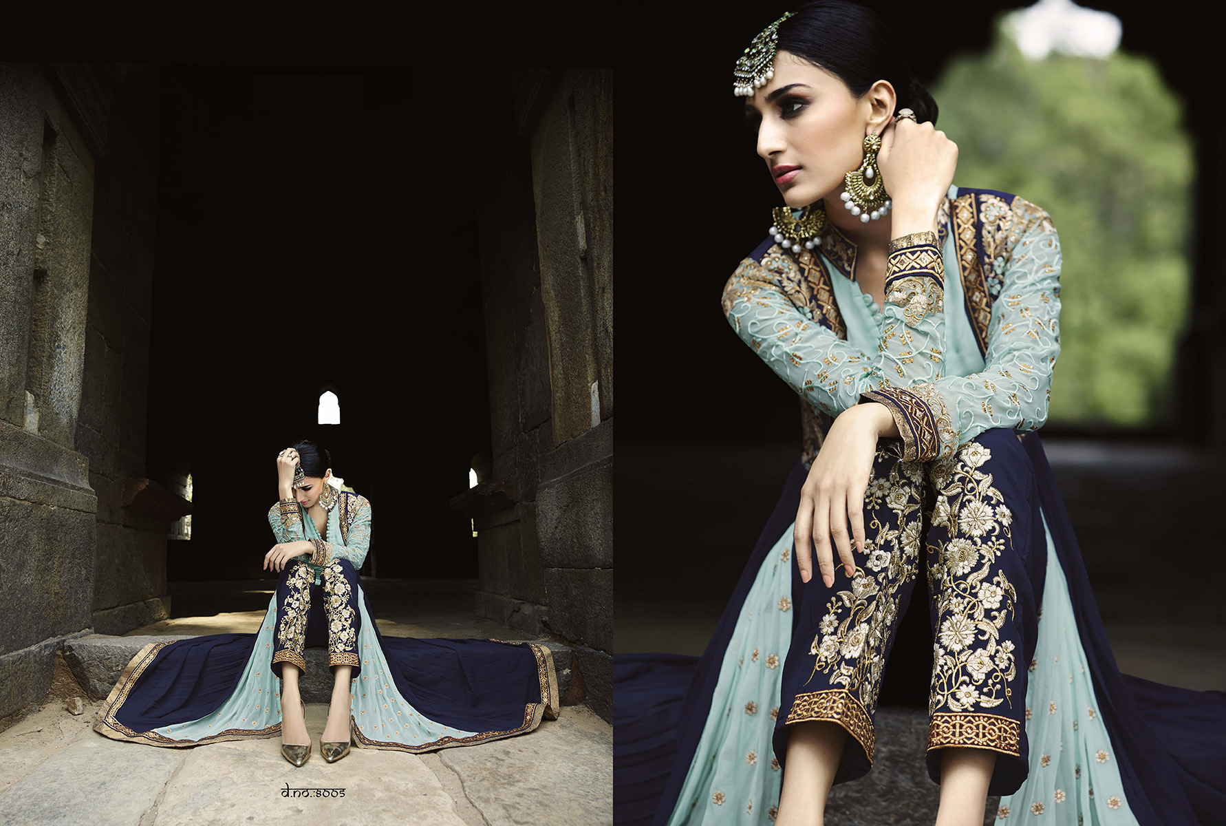 New Collection Of Georgette Sky And Navyblue Embroidered Anarkali Suit