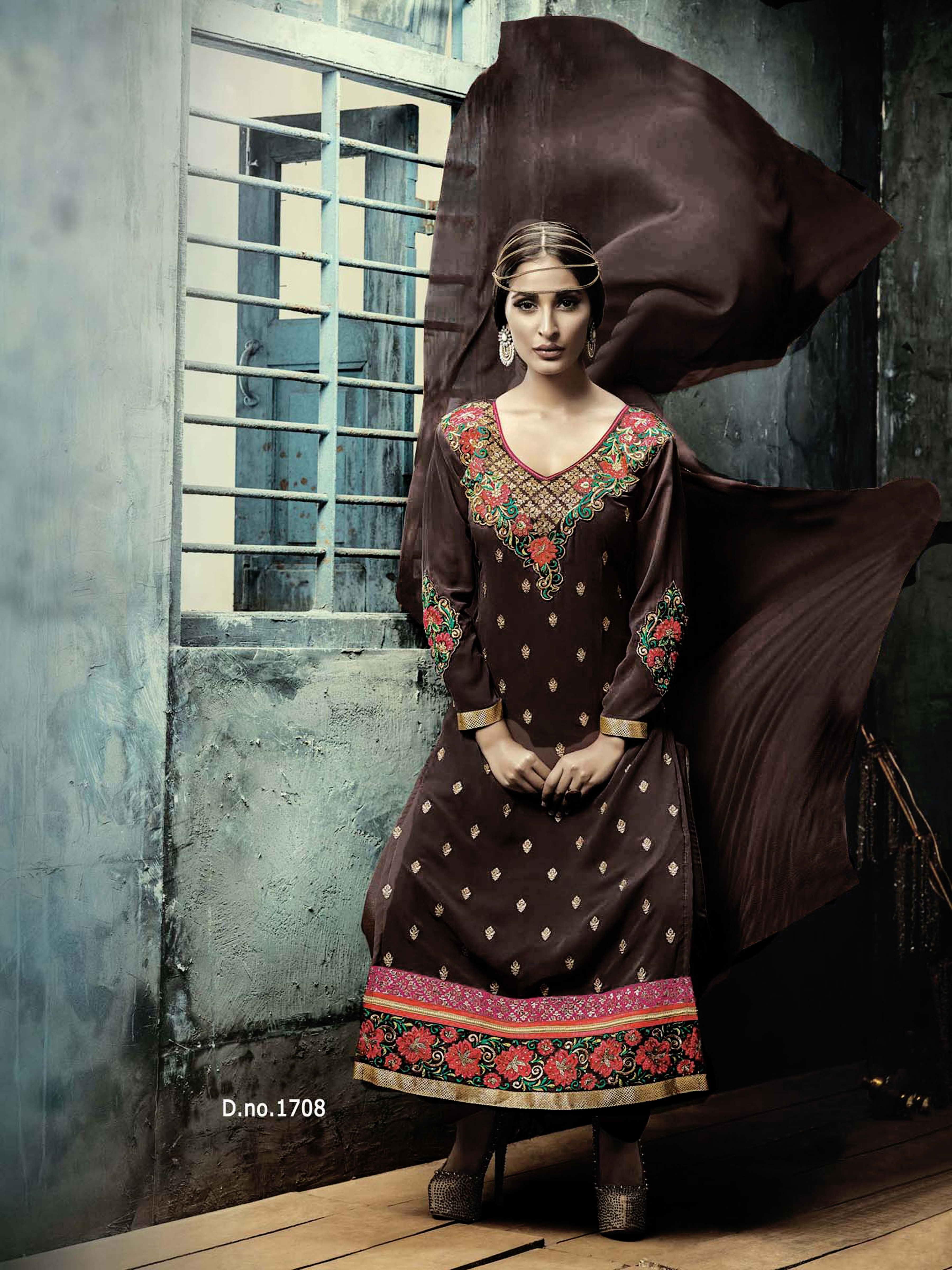 Beautiful Designer Georgette Dark Brown Semi Stitched Straight Suit