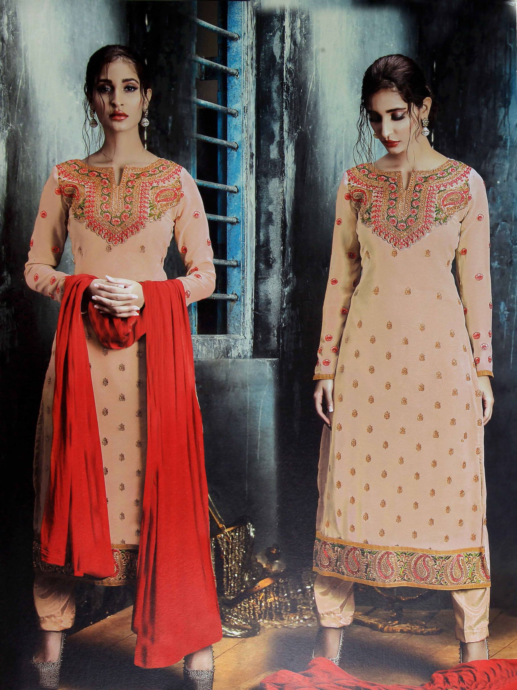 Beautiful Designer Georgette Flesh Semi Stitched Straight Suit