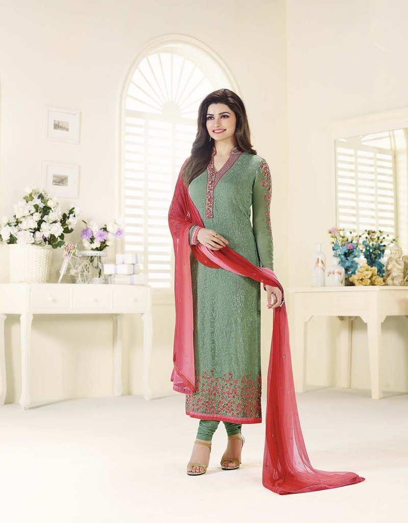 �Beautiful Designer Georgette Green Color Semi Stitched Straight Suit