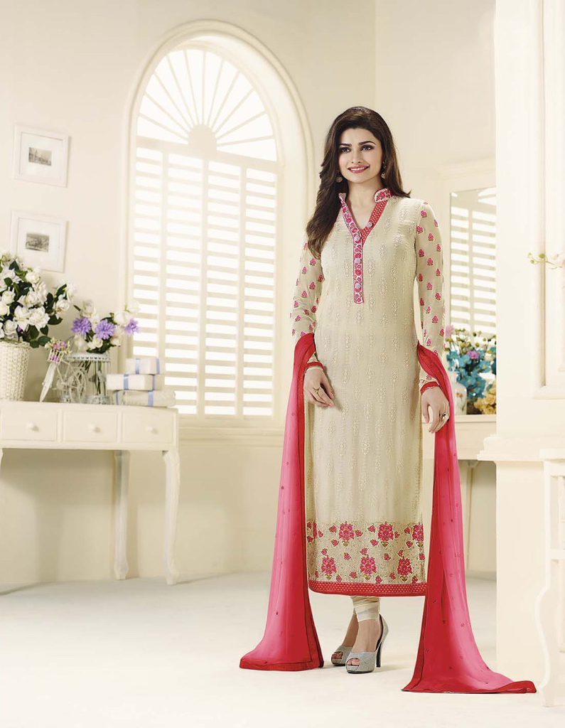 �Beautiful Designer Georgette Cream Semi Stitched Straight Suit
