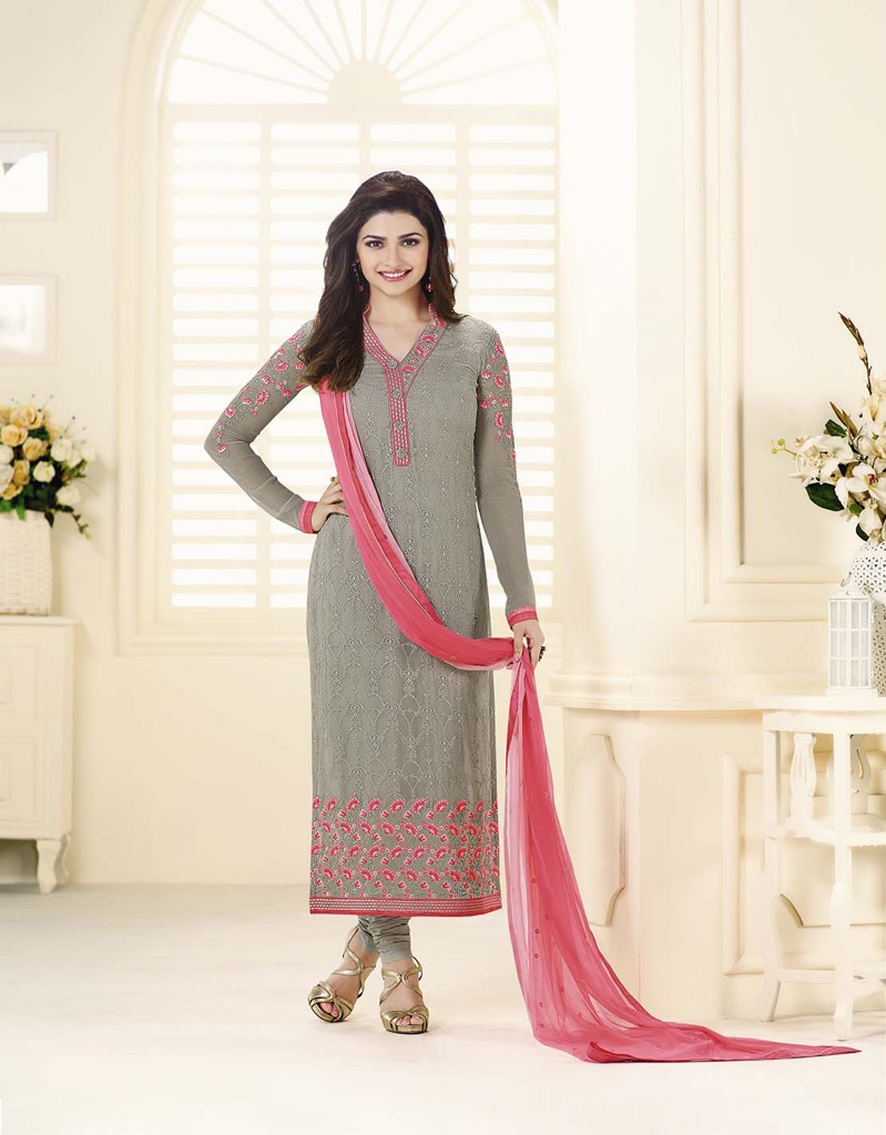 Beautiful Designer Georgette Gray Color Semi Stitched Straight Suit