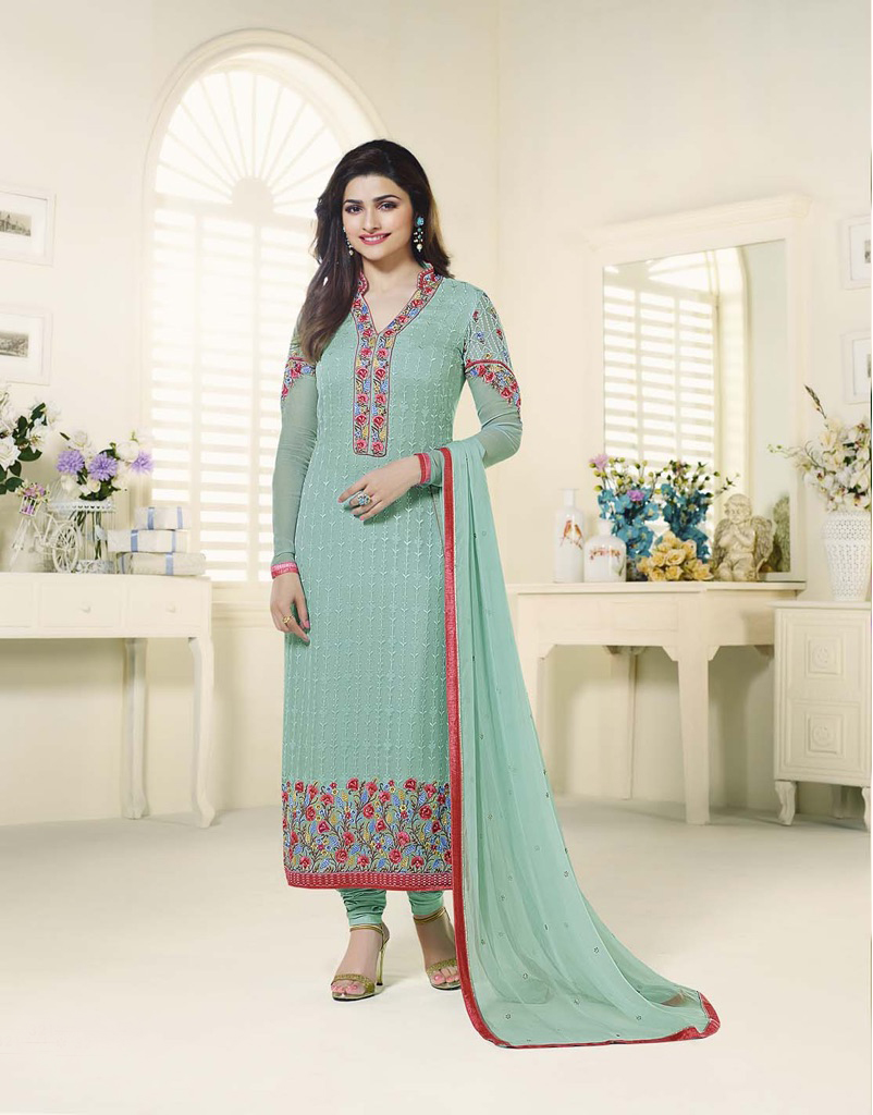 Beautiful Designer Georgette Aqua Blue Semi Stitched Straight Suit