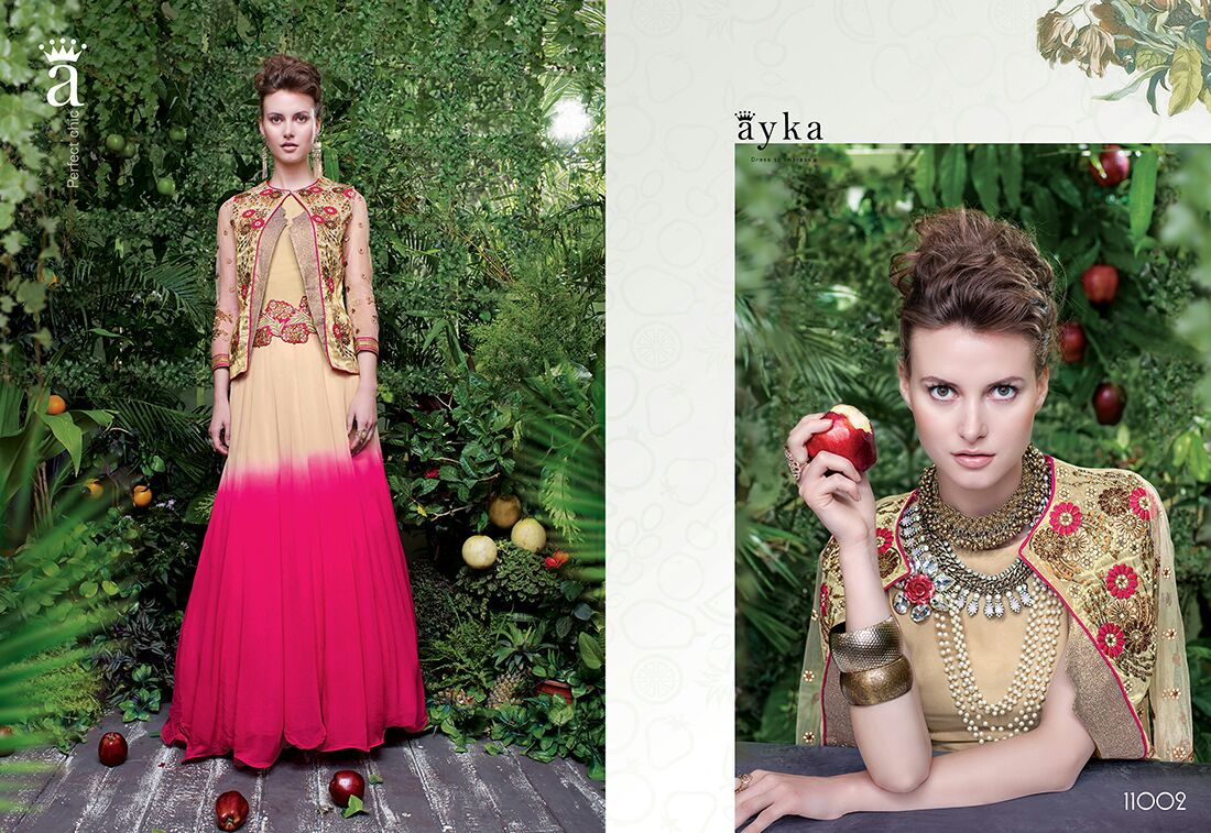Cream & Pink Colour Georgette & Tisuue Embroidery Semi Stitched Designer Gown
