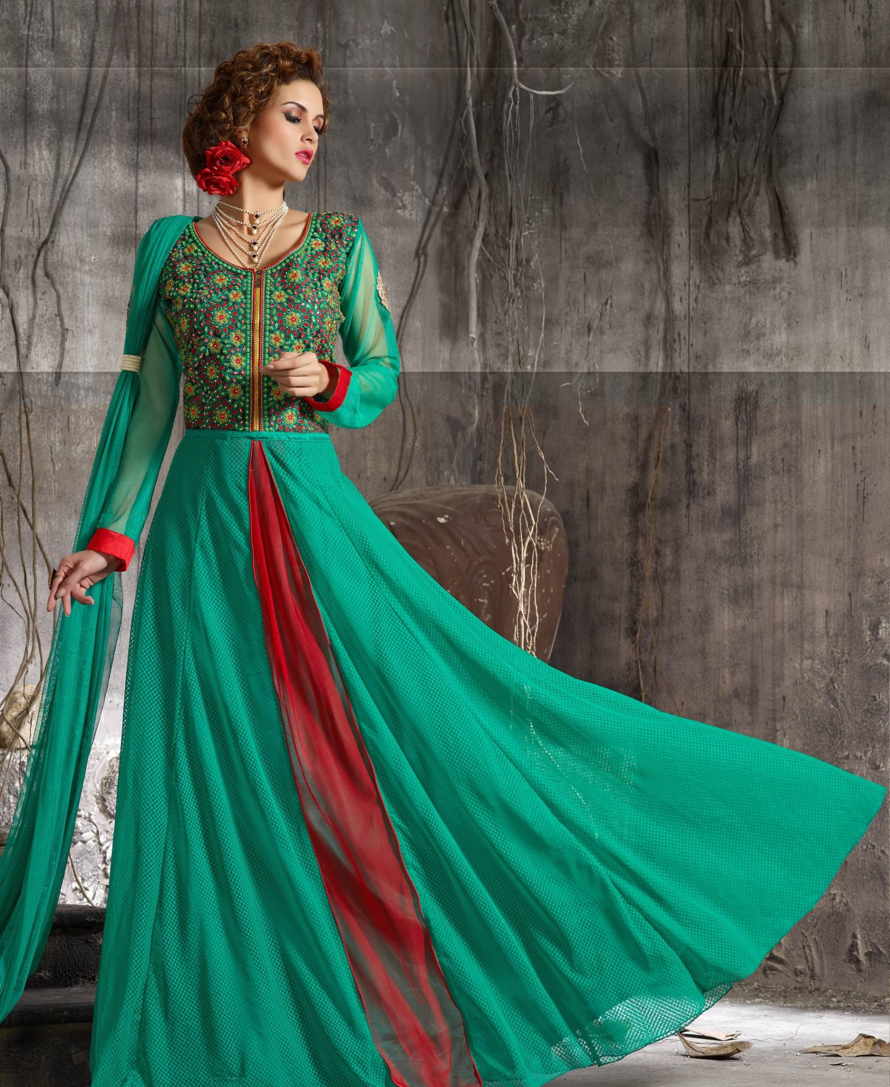 New Stylist Look Designer Embroidred Green Gown